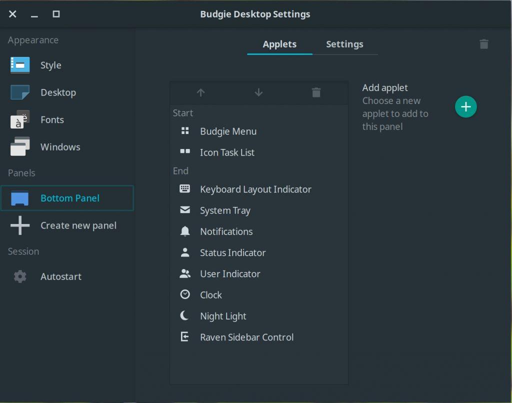 Panel settings