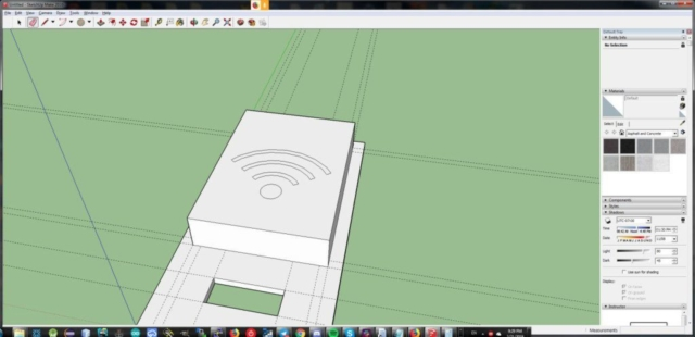 The design of the front panel with RFID reader and OLED screen