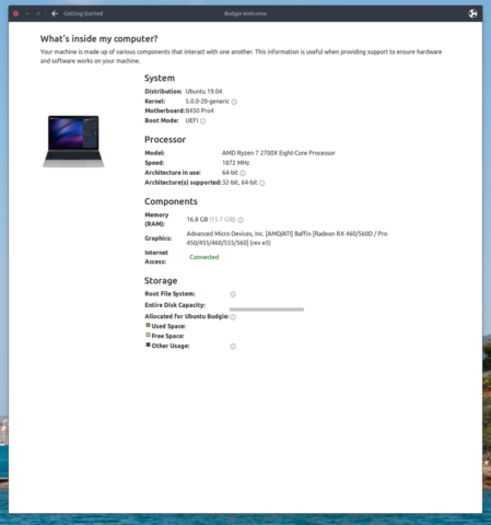 Budgie Welcome - System Specs